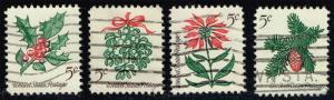 US #1254-1257 Christmas Plants; Used (1.00)