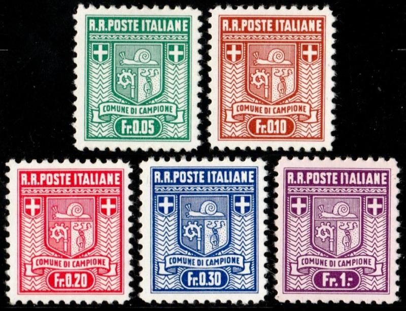 ✔️ ITALY CAMPIONE 1944 - ENCLAVE IN SWITZERLAND - SA. 1/5 MNH ** 220$ [216.1A02]