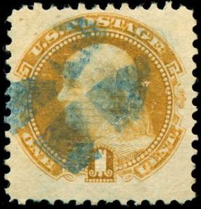 momen: US Stamps #112 Used blue Cork Cancel