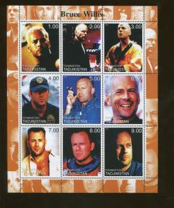 Tajikistan Commemorative Souvenir Stamp Sheet - Actor Bruce Willis