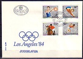 Yugoslavia, Scott cat. 1680-1683. L.A. Olympics issue. First day cover.^