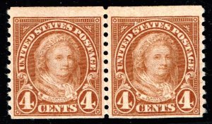 US STAMP  #601 – 1923 4c Martha Washington, perf 10 vertical  MNH PAIR