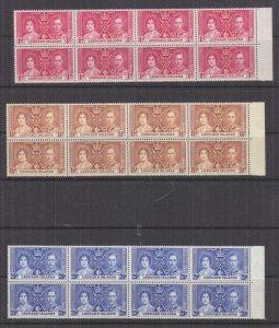LEEWARD ISLANDS, 1937 Coronation set of 3, marginal blocks of 8, mnh.