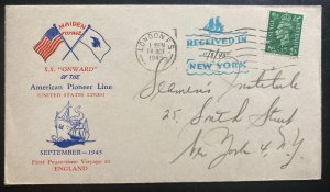 1945 London England Maiden Voyage First Day Cover To New York USA SS Onward