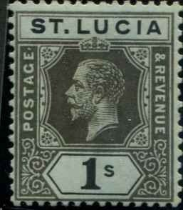 St Lucia SC#70  KGV 1 shilling  MH SCV $7.00 with mount