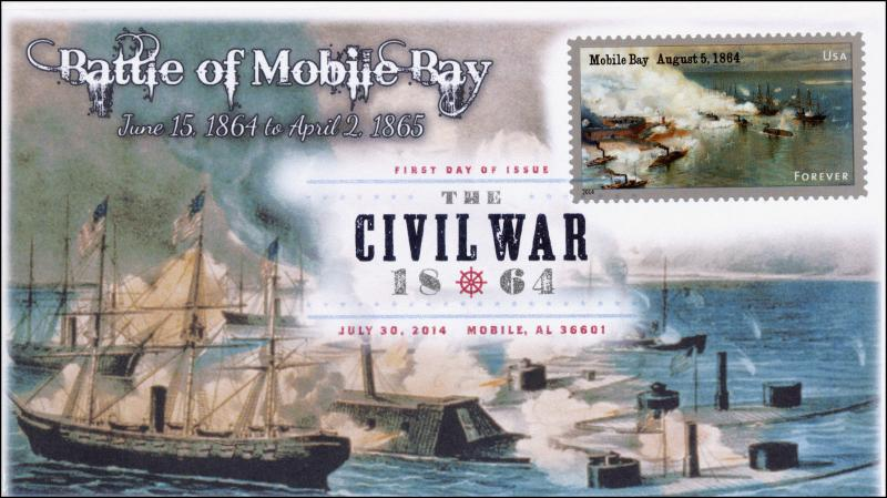 14-109, SC 4911, 2014 Battle of Mobile Bay ,Civil War FDC Digital Color Postmark