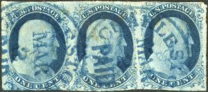 #7 VF STRIP OF 3; BLUE PAID CANCEL CV $537.50 BP0460