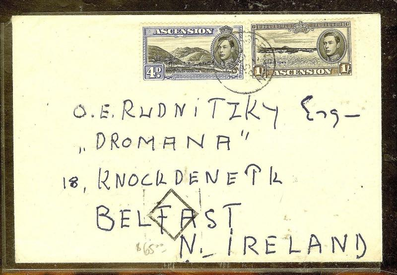 ASCENSION (P0210B) KGVI 4D+1/- COVER TO IRELAND