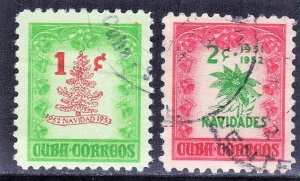 CUBA  SC#  470+498  USED CHRISTMAS   1951-52  SEE SCAN