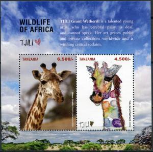 Tanzania 2017. Giraffes (MNH OG) Souvenir Sheet