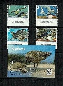 South Georgia: 2012, Endangered Species, Seabirds,  MNH set + Miniature sheet