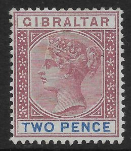 GIBRALTAR SG41 1898 2d BROWN-PURPLE & ULTRAMARINE MTD MINT