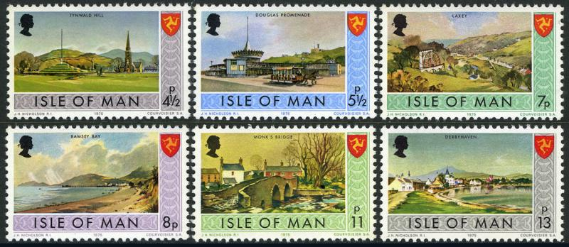 Isle of Man 52-59,MI 52-53,58-59,72-73,MNH. Landscapes:Laxey, Ramsey Bay, 1975
