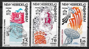 1976 French New Hebrides Sc224-6 First Telephone call 100th Anniv. C/S MNH