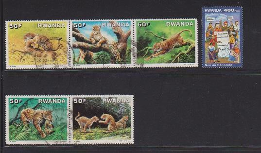 RWANDA SET OF STAMPS #1292-96,1394(6)  LOT#161