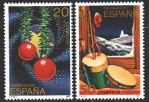 Spain. 1987. 2805-6. Christmas, balls, New Year. MNH.