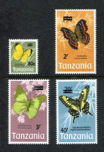 Tanzania 50-53, MNH, Insects  Butterflies, 1975 overprit. x28293