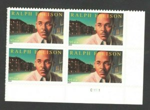 4866 Ralph Ellison Bottom Plate Block Mint/nh FREE SHIPPING