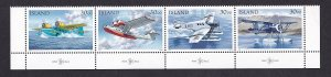 Iceland   #773a-776a   MNH 1993 postal flight seaplanes. strip of four