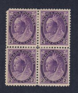 4x Canada Stamp #76-2c Victoria Numeral Block MH VF CC TL Guide Value = $260.00