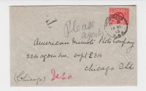 KUT BRITISH 1913 SHORT PAID COVER TO USA, T MK NO CIRCLE, 6c RATE(SEE BELOW)