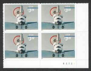 U.S. #3261 SPACE SHUTTLE PLATE BLOCK  MINT, VF, NH-PRICED AT FACE VALUE + 10%