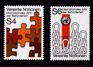 U.N. - Vienna # 18-19, Disabled, Mint NH, 1/2 Cat.