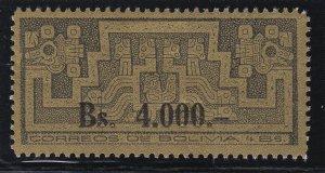 Bolivia 1960 Prehistoric Gods 4000b on 4b LM MInt. Only 6000 printed. Scott 449