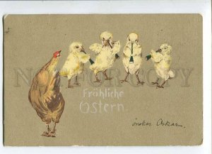 279781 EASTER Musical CHICKEN Hen WATER COLOR vintage 1902 y