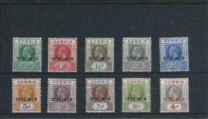 GAMBIA 1921-22 SET OF TEN OVERPRINTED SPECIMEN MM SG 108s/117s CAT £225