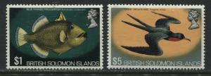 British Solomon Islands QEII 1972 $1 and $5 mint o.g.