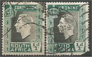 SOUTH AFRICA, 1937, used 1/2p George VI, Scott 74a-b