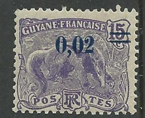 Fr. Guiana # 95  Great Anteater  02c on 15c Surcharge  (1) Unused