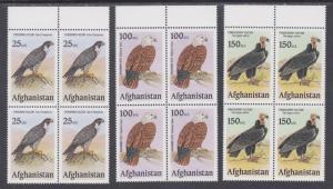Afghanistan MNH c. 2000 Birds of Prey, set of 3, Matched Sheet Corner Blocks