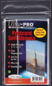 100 STANDARD POSTCARD SLEEVES 3-11/16 x 5-3/4 CRYSTAL CLEAR ULTRA PRO