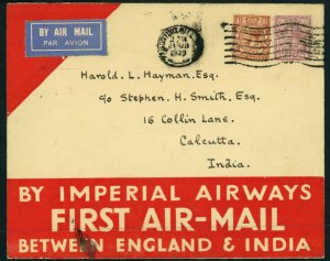 ENGLAND to INDIA First Airmail Flight FAM Imperial Airways Notting Hill Calcutta