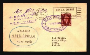 Great Britain 1938 RMS Apollo Paquebot Cover - Z16640