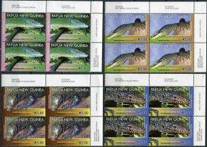 Papua New Guinea. 2011. Monitor Lizards. Top right corner (MNH OG) set