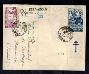 1943 Ebba Ksour Tunisia Cover # B1 B2 with LL Corner Tab Cross of Lorraine