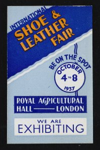 REKLAMEMARKE POSTER STAMP ⭐ SHOE AND LEATHER FAIR LONDON ⭐ 1937