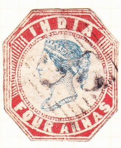 INDIA 1855 4A Deep Blue & Red Die III SG22 Used