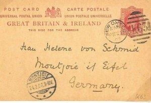 GB Card Surrey *New Oxted* SCARCE DUPLEX *K63* Germany 1907 {samwells}BD160