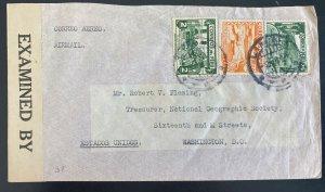 1941 Lima Peru Airmail Censored Cover To Washington DC USA