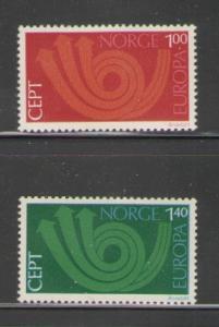 Norway Sc 604-5 1973 Europa stamp set mint NH