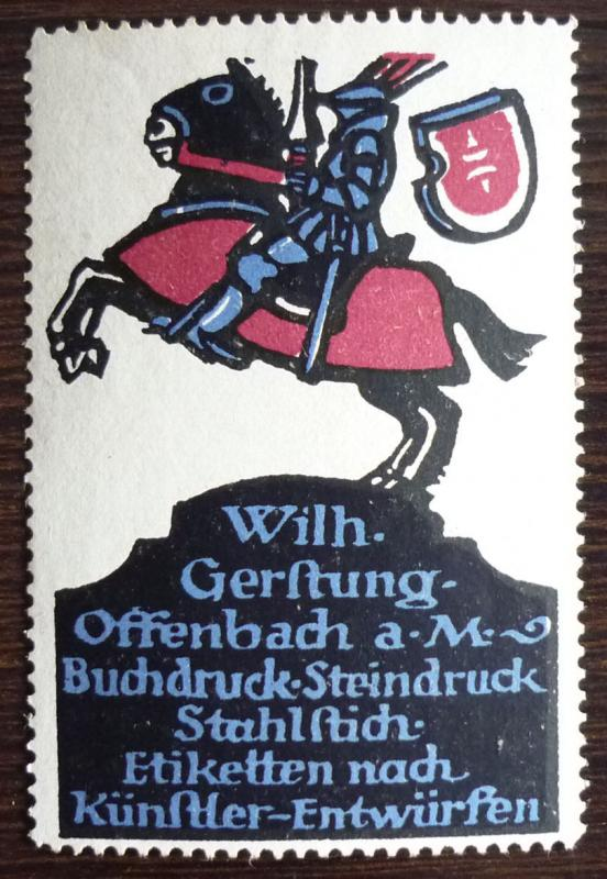 NICE POSTER STAMP! germany austria reklamemarke knight horse animal crest J109