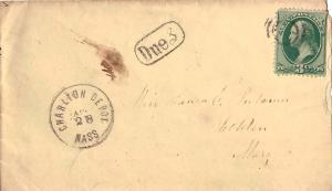 United States Massachusetts Charlton Depot c1875 target  1842-2002  3c Washin...