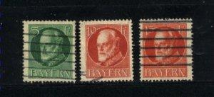 German State Bayern #96, 99, 100 used 1914-20   PD