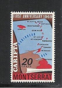 Montserrat #213 mnh cv $.25 Map