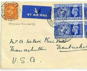 GB OLYMPICS Cover BLOCK FRANKING 1948 *Thornthwaite* Cumbs {samwells-covers}HH46