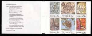 Sweden Sc 1866a 1991 Old Maps stamp booklet pane mint NH